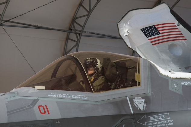 The Commanding Officer of Marine Fighter Attack Squadron 122 (VMFA-122), Lt. Col. John P. Price, conducts a pre-flight check of aircraft in preperation of VMFA-122's first flight operations in an F-35B Lightning II on Marine Corps Air Station (MCAS) Yuma, Ariz., March 29, 2018. VMFA-122 is conducting the flight operations for the first time as an F-35 squadron. (U.S. Marine Corps photo by Sgt. Allison Lotz)