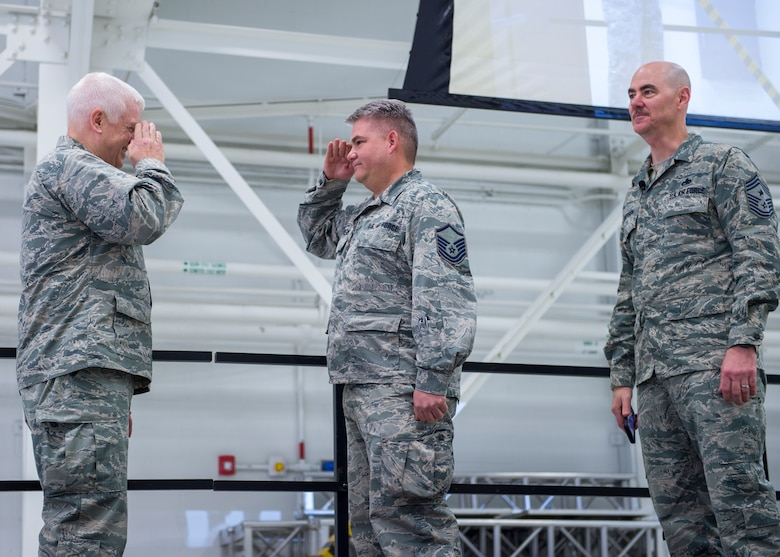 U.S. Air Force Master Sgt. Eric Swenson, 133rd Communications Flight, is recognized and coined for his actions during the 2017 hurricane relief efforts St. Paul, Minn., March 25, 2018.