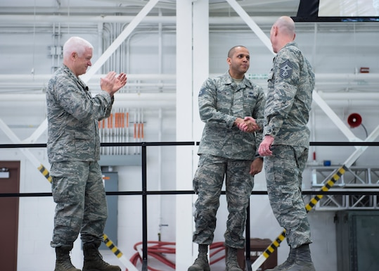 U.S. Air Force Tech. Sgt. Rodney Gattis, 133rd Force Support Squadron, is recognized and coined for earning recruiting and retention manager of the quarter in St. Paul, Minn., March 25, 2018.