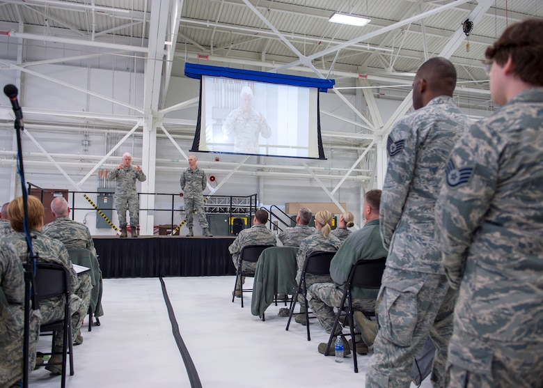U.S. Air Force Lt. Gen. L. Scott Rice, director, Air National Guard, and Chief Master Sgt. Ronald Anderson, right, Command Chief of the Air National Guard answered questions from members of the 133rd Airlift Wing in St. Paul, Minn., March 25, 2018.