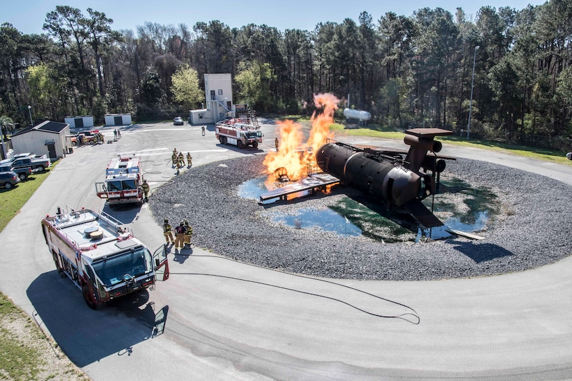 Reserve Firefighters Tackle the Aircraft Burn Trainer