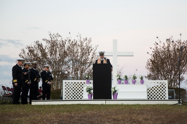 Navy Lt. j.g. Joseph Frana leads the Easter Sunrise Service in the first prayer of the morning on Marine Corps Base Camp Lejeune, April 1. The service was held in the morning as the sun rises to symbolize the rise of Christ. Frana is the chaplain for 10th Marine Regiment.