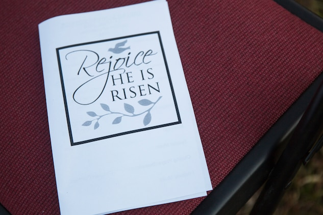 A pamphlet from the Easter Sunrise Service on Marine Corps Base Camp Lejeune, April 1. The service was held in the morning as the sun rises to symbolize the rise of Christ.