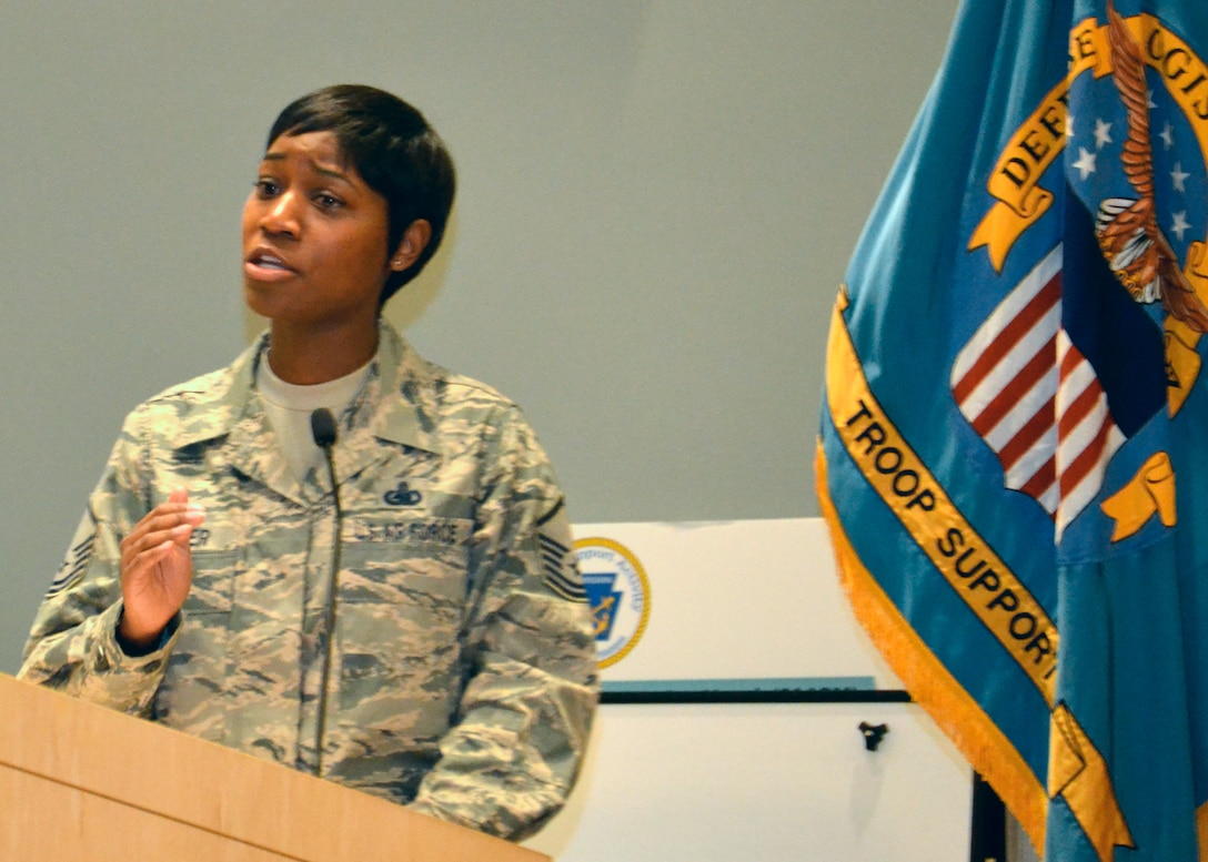 """Air Force Master Sgt. Naka Turner shares her story of survival after sexual assault at DLA Troop Support's """"Speak Up, Stand Up"""" empowerment event April 4 in Philadelphia."""