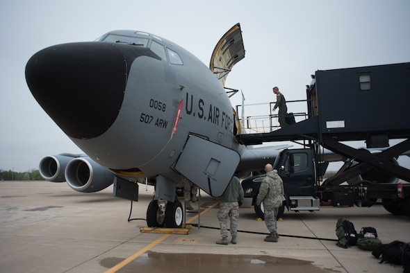 Aeromedical evacuation squadron members from five Air National Guard units load medical equipment on a KC-135 Stratotanker, from the 507th Air Refueling Wing, Tinker Air Force Base, Oklahoma, before completing in-flight training scenarios at Tinker Air Force Base near Oklahoma City, March 27, 2018. The Multiple Aircraft Training Opportunity Program (MATOP) was created by the 137th Aeromedical Evacuation Squadron from Will Rogers Air National Guard Base in Oklahoma City in 2012. (U.S. Air National Guard photo by Staff Sgt. Tyler Woodward)
