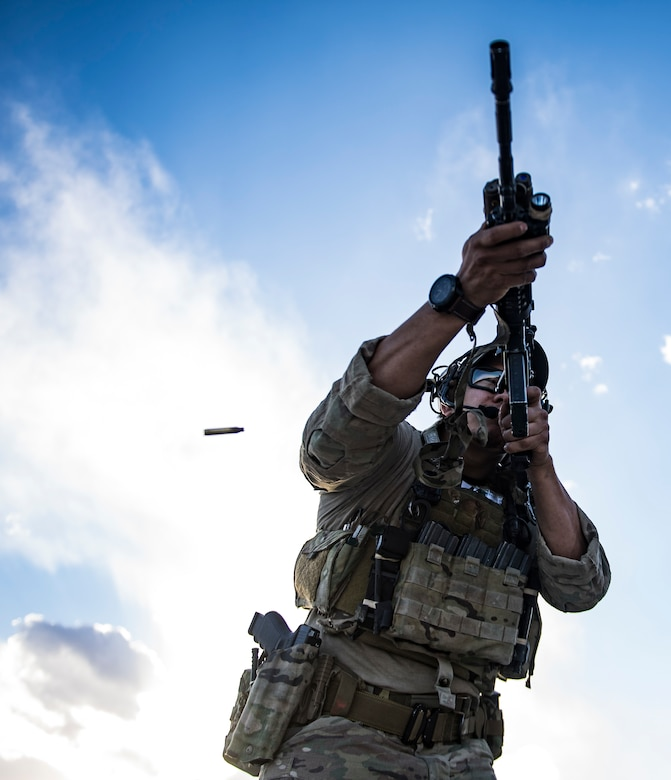 A pararescueman, assigned to the 83rd Expeditionary Rescue Squadron, Bagram Airfield, Afghanistan, performs rifle training March 28, 2018. Weapons familiarity and competence is vital to a pararescueman's ability to perform the combat search and rescue mission set. (U.S. Air Force photo by Tech. Sgt. Gregory Brook)