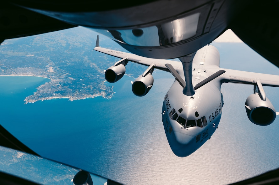 A C-17 Globemaster III approaches to receive fuel from a 336th Aerial Refueling Squadron KC-135 Stratotanker over Calif., March 28, 2018. The 336th ARS is responsible for providing essential mission-extending capabilities through their refueling services. (U.S. Air Force photo by Staff Sgt. Jordan Castelan)