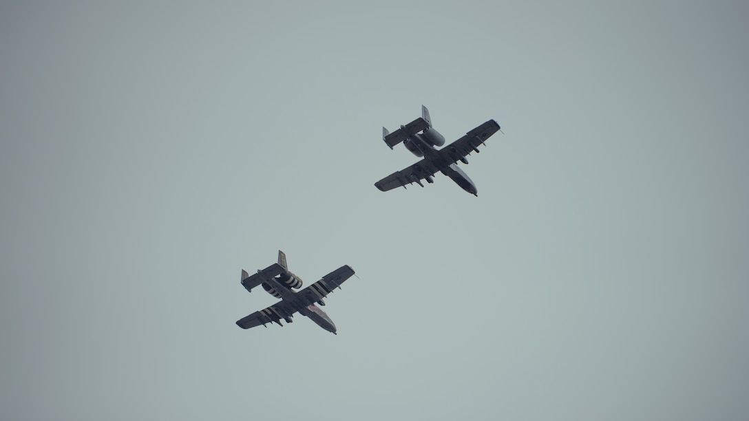 Two A-10C Thunderbolt II's from the 127th Wing, Michigan Air National Guard, conduct a flyover during the funeral service for Tech. Sgt. Dashan Briggs, 106th Rescue Wing special missions aviation specialist, New York Air National Guard, at Calverton National Cemetery, N.Y., March 29, 2018. Briggs was killed when the HH-60G Pave Hawk helicopter he was flying in crashed near the city of Al-Qa�im, Iraq. (U.S. Air National Guard photo by Staff Sgt. Ryan Campbell)