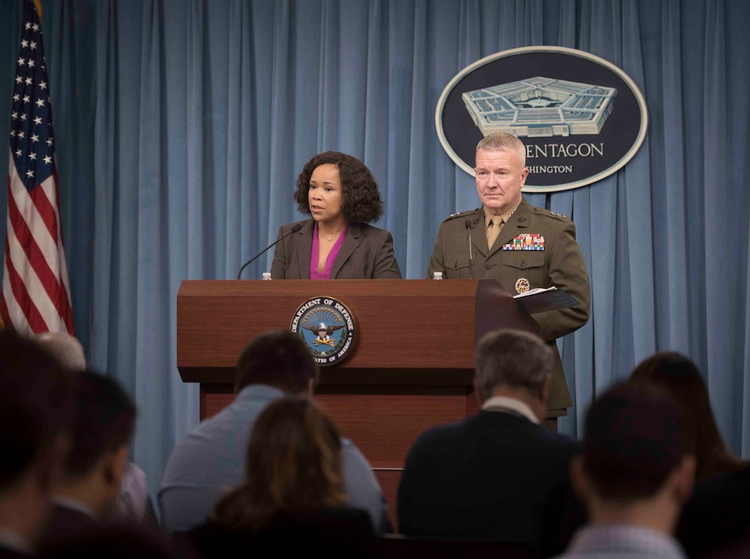 Chief Pentagon spokesperson Dana W. White and Marine Corps Lt. Gen. Kenneth F. McKenzie, the Joint Staff director, brief reporters at the Pentagon.