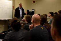 Steve Weinstein, Stanford University professor, speaks to a group of students during a Hacking for Defense class inSilicon Valley, California, Feb. 12, 2018.