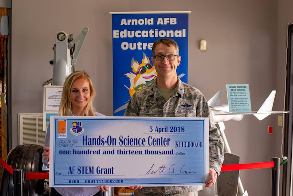 The Hands-On Science Center runs the Air Force Science, Technology, Engineering, and Mathematics program on behalf of Arnold Air Force Base. The grant money allows the HOSC to fund events such as S.T.E.M. camps, glider academy, FIRST® teams and many more S.T.E.M. related events and education.