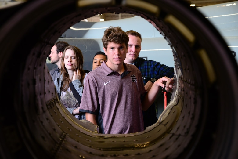 David Mongeau, a Mississippi State University Aircraft Propulsion student, examines the shell of a T-38C Talon engine April 4, 2018, on Columbus Air Force Base, Mississippi. An aerospace engineering student will spend over 1,000 hours in their classroom learning the different components of aircraft. (U.S. Air Force photo by Airman 1st Class Beaux Hebert)