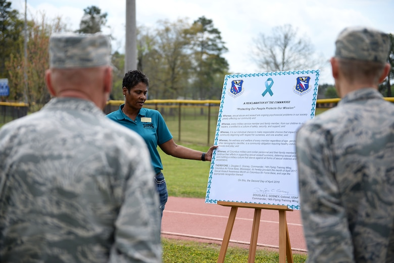 Dr. Marcia Stewart, Sexual Assault Prevention and Response program manager, states the SAPR proclamation for Sexual Assault Awareness Month April 2, 2018, on Columbus Air Force Base, Mississippi. The Columbus SARC reporting hotline is (662) 364-0822 and their duty phone is (662) 434-1228. (U.S. Air Force photo by Airman 1st Class Keith Holcomb)