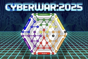 A graphic featuring the logo for the computer-based strategy game CyberWar: 2025.
