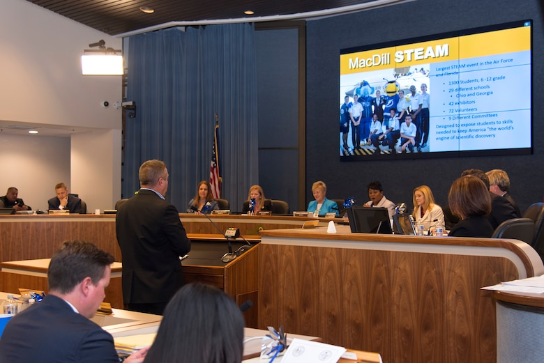 Terry Montrose, chief of community engagement at MacDill, addresses the Hillsborough County Public School Board during their meeting April 3, 2018. Montrose spoke on the merits of hosting the largest Science, Technology, Engineering, Art and Mathematics Day in the Air Force.