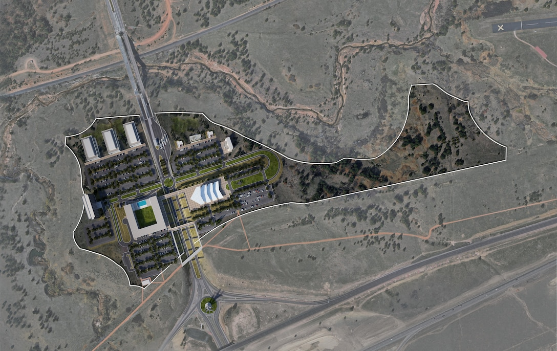 The Air Force is in negotiations with a privately-owned company to begin development on approximately 57 acres by the Academy's North Gate. The proposed lease includes an agreement between the Air Force and Blue and Silver, LLC, to construct a new visitor's center. The new center will increase the visibility and accessibility for the local community and tourists of the Academy. (Courtesy Artist Rendition)