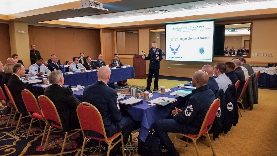 Maj. Gen. John T. Rauch Jr. welcomes attendees to the Air Force Occupational Safety Corporate Committee