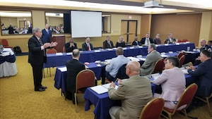 Bill Parsons speaks to attendees of the Air Force Occupational Safety Corporate Committee