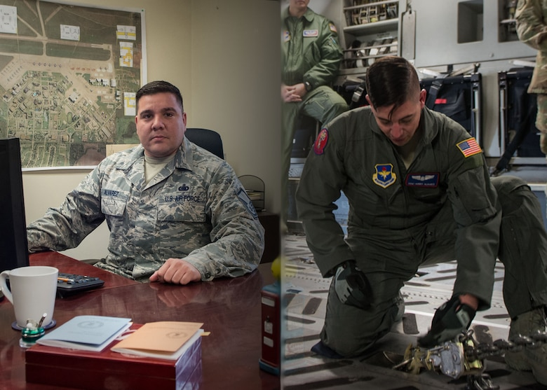 Master Sgt. Andres Alvarez (left), fuels operation section chief assigned to the 97 Logistics Readiness Squadron, and his brother Staff Sgt. Robert Alvarez, a loadmaster assigned to the 58th Airlift Squadron, work in their own respective workplaces at Altus Air Force Base, Okla.