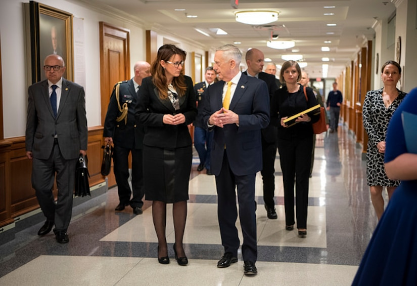 Defense Secretary James N. Mattis hosts Slovenian Minister of Defense Andreja Katič at the Pentagon in Washington, D.C., April 6, 2018. DoD photo by Tech Sgt. Vernon Young Jr.