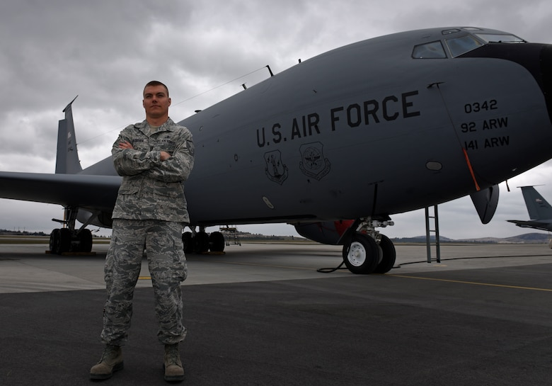 Master Sgt. Joshua O'Brien, 92nd Aircraft Maintenance Squadron section chief, poses for a photo at Fairchild Air Force Base, Wash., April 4, 2018. O'Brien was out walking with his family around Medical Lake when he noticed two young girls fall through the ice. O'Brien immediately jumped into action, diving into the frigid water and pulling the children to safety. (U.S. Air Force photo by Airman 1st Class Jesenia Landaverde)