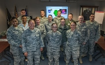 New additions to the 932nd Airlift Wing meet with the Wing Commander and Command Chief.