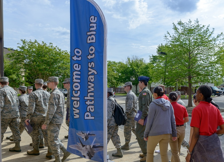 Air Force ROTC cadets from various colleges and universities participate in Pathways to Blue April 6, 2018, on Keesler Air Force Base, Mississippi. Keesler was home to 280 cadets from 15 universities April 6-7 as part of Pathways to Blue, a diversity outreach event hosted by the 2nd Air Force.  (U.S. Air Force photo by Andre' Askew)