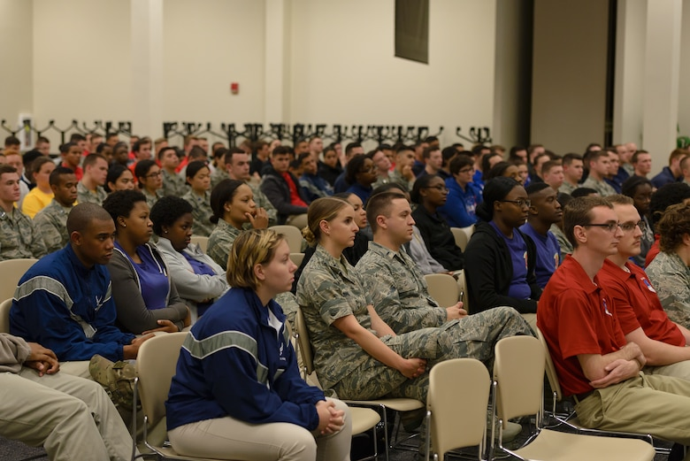 Air Force ROTC cadets from various colleges and universities listen to a briefing from Keesler's senior enlisted leadership as part of Pathways to Blue April 7, 2018, on Keesler Air Force Base, Mississippi. Keesler was home to 280 cadets from 15 universities April 6-7 as part of Pathways to Blue, a diversity outreach event hosted by the 2nd Air Force.  (U.S. Air Force photo by Andre' Askew)