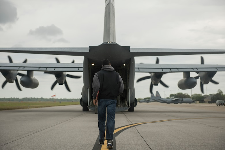 A U.S. Air Force ROTC cadet walks toward the back of a MC-130J Commando II for an incentive flight during Pathways to Blue April 6, 2018, on Keesler Air Force Base, Mississippi. Pathways to Blue is a diversity outreach event, hosted by 2nd Air Force with the support of the 81st Training Wing and the 403rd Wing. The event provided more than 280 cadets from 15 different colleges and universities a chance to receive hands-on demonstrations of various career fields. (U.S. Air Force photo by Senior Airman Travis Beihl)