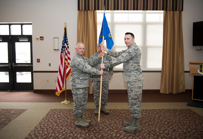 Maj. Joshua Bender assumes command of the 914th Communications Squadron