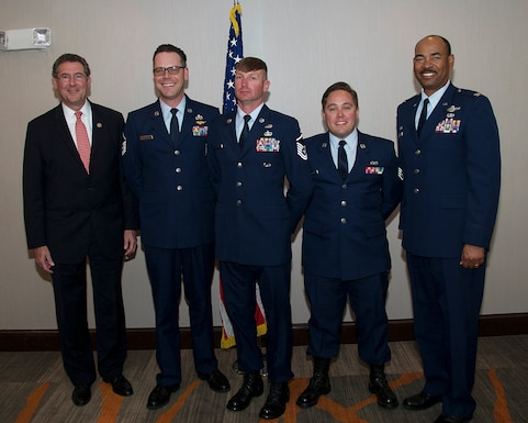 U.S. Congressman Gregg Harper, MS-03, Master Sgt. William Allen with the 186th Aircraft Maintenance Squadron, Master Sgt. William Defoor with the 238th Air Support Operations Squadron (ASOS), Staff Sgt. Clayton Welch with the 238th ASOS, and Col. Edward Evans, commander of the 186th Air Refueling Wing, were special guests at the annual Air Force Association (AFA) meeting at the Holiday Inn, Meridian, Miss., April 5, 2018.