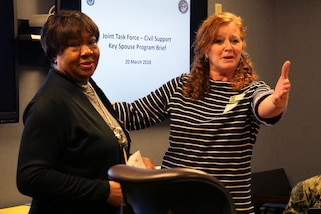 Carol Gallant (right), wife of Maj. Gen. Richard Gallant, commander of Joint Task Force Civil Support (JTF-CS), thanks Darlene Morgan (left), the community readiness specialist at Joint Base Langley-Eustis, for her assistance with the Key Spouse Group at JTF-CS during a tour and group meeting at Mullan Hall last month.  The Key Spouse Group is a commander's program that is primarily used in the Air Force. According to the US Air Force Services website, it's an official unit/family program designed to enhance readiness and establish a sense of community. After a tour of the headquarters, the spouses sat down to discuss the current group and where it is headed. A new command team is coming in July. Along with that big change, several key leaders are moving on to their next duty stations. That means more volunteers are needed to continue a program that the Gallant family agrees is critical to the command.
