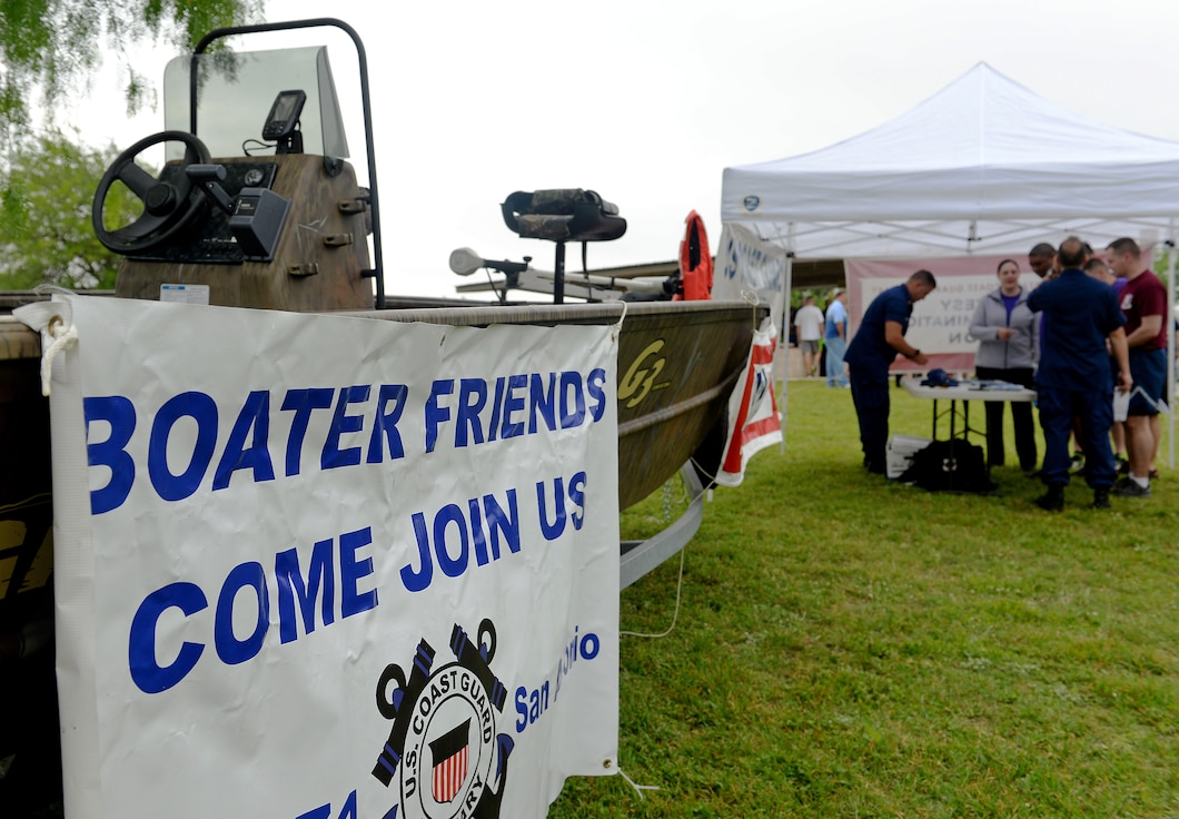 "The U.S. Coast Guard Auxiliary Flotilla 7-4 provides boating safety information to 67th Cyberspace Wing members during the annual safety day event at Joint Base San Antonio-Lackland, Texas, April 6, 2018. The sports and recreation themed event included several sports competitions and a ""Gunslinger"" warrior challenge to provide the participants more situational awareness and risk management techniques to consider during these activities. (U.S. Air Force photo by Tech. Sgt. R.J. Biermann)"