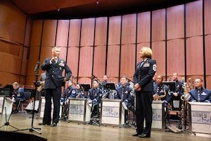 Legendary saxophonist Branford Marsalis sat in as the season's final guest with Airmen of Note April 5 at the Rachel M. Schlesinger Concert Hall and Arts Center on Northern Virginia Community College's Alexandria campus. Each month, The Air Force Band's premiere jazz ensemble welcomes a jazz artist to sit in with the troupe and bring a unique concert opportunity to the public.