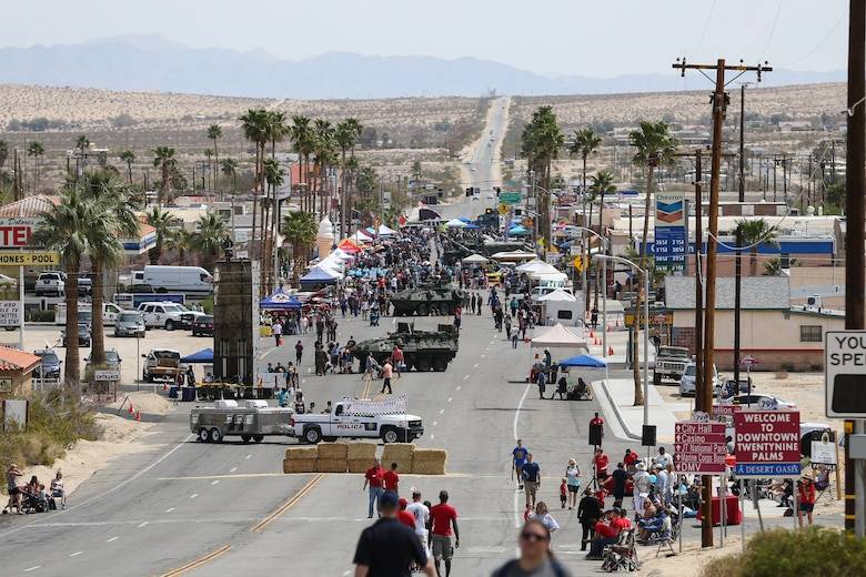 The Twentynine Palms Chamber of Commerce hosted the 18th Annual Car Show and Street Fair in Twentynine Palms, Calif., March 31, 2018.  The annual event is used to bring the community of Twentynine Palms and the Marine Corps Air Ground Combat Center, located in Twentynine Palms, together as well as support local businesses. (U.S. Marine Corps photo by Lance Cpl. Rachel K. Porter)