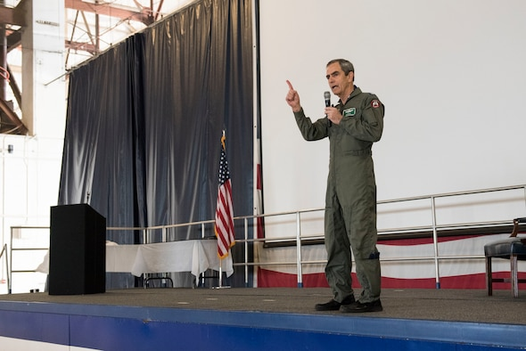 Retired U.S. Air Force Col. Lee Ellis, former Vietnam War pilot and prisoner of war, shares his experiences with Airmen at Shaw Air Force Base, S.C., April 6, 2018.