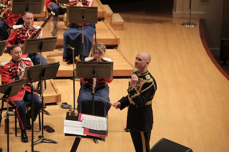 On April 8, 2018 the Marine Band reenacted a Dream Hour radio broadcast with host Robert Aubry Davis at the Clarice Smith Performing Arts Center at the University of Maryland in College Park. (Master Sgt. Kristin duBois/released)