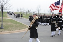 On April 9, 2018, the Marine Band participated in the funeral and repatriation ceremony for World War II casualty Pvt. Edwin Jordan, USMC. Pvt. Jordan was killed in action on Nov. 20, 1943 during the Battle of Tarawa in the central Pacific Ocean. In July 2017, History Flight, a private organization, excavated what was believed to be a wartime fighting position on the small island of Betio in the Tarawa Atoll of the Gilbert Islands. The Defense POW/MIA Accounting Agency used circumstantial evidence and forensic identification tools to identify Pvt. Jordan. His remains were returned to the United States and buried at Arlington National Cemetery with full military honors. (U.S. Marine Corps photo by Master Sgt. Kristin duBois/released)