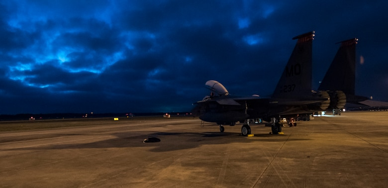 A 391st Fighter Squadron F-15E Strike Eagle parks for the night April 2, 2018, at Tyndall Air Force Base, Florida. The 391st FS recently participated in Combat Archer and Hammer, which tested both air-to-air and air-to-ground maneuvers
