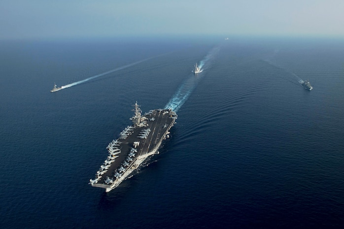 USS Theodore Roosevelt conducts PASSEX with Republic of Singapore Navy
