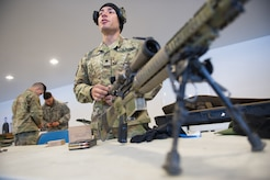 Army Spc. Arturo Dominguez, a native of Okeechobee, Fla., assigned to Charlie Troop, 1st Squadron, 40th Cavalry Regiment (Airborne), 4th Infantry Brigade Combat Team (Airborne), 25th Infantry Division, U.S. Army Alaska, loads ammunition into magazines before training with his M110 Semi-Automatic Sniper System on Statler range at Joint Base Elmendorf-Richardson, Alaska, April 6, 2018, during marksmanship training.  A sniper's main responsibility is to deliver discriminatory, highly accurate rifle fire against enemy targets that cannot be engaged successfully by the regular rifleman due to range, size, location, fleeting nature, or visibility.