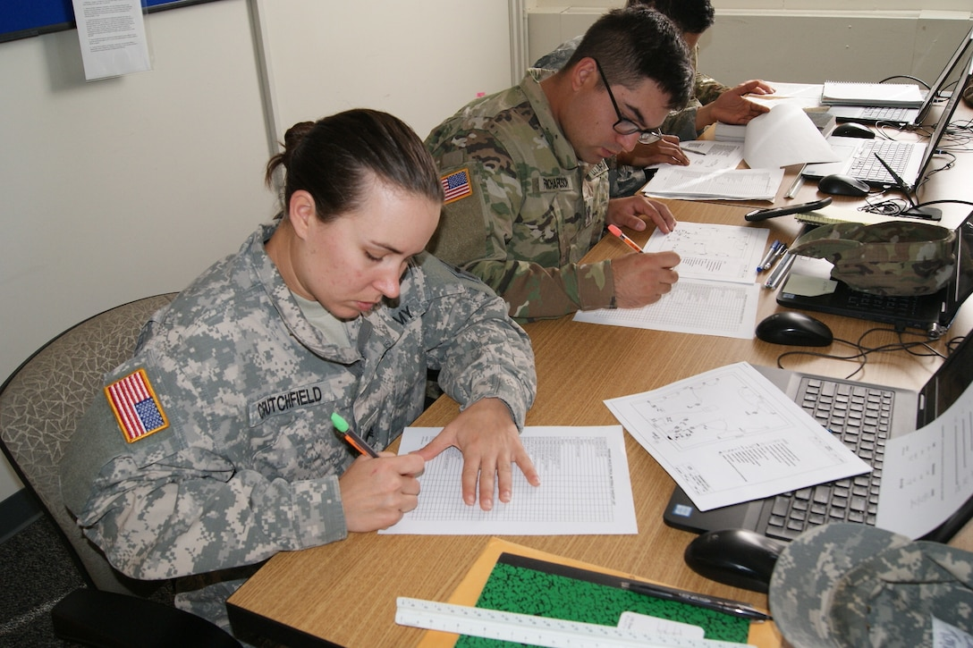 Army Reserve and National Guard Soldiers learn measurement calculations during the 12R Interior Electrician course taught by instructors from the 80th Training Command and 102nd Training Division (Maneuver Support) at The Army School System Training Center Dix, New Jersey, March 31, 2018.