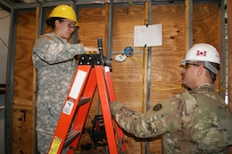 (Right) Staff Sgt. William Smith, a 102nd Training Division instructor, teaches Sgt. Taylor Crutchfield, with the 226th Maneuvering Enhancement Brigade, electrical circuitry during the 12R Interior Electrician course at The Army School System Training Center Dix, New Jersey, March 29, 2018.