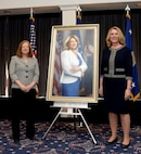 Former Secretary of the Air Force Deborah Lee James and Artist Michele Rushworth pose for a photo during a portrait unveiling ceremony at Joint Base Anacostia-Bolling, Washington, D.C., April 6, 2018. The portrait will be displayed at the Pentagon. (U.S. Air Force photo by Staff Sgt. Rusty Frank)