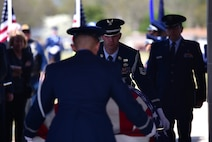 Seymour Johnson Air Force Base Honor Guardsmen prepare to fold a flag in honor of Col. Edgar Davis during his funeral ceremony April 6, 2018, Goldsboro, North Carolina. Davis served as an RF-4C Phantom navigator during the Vietnam War assigned to the 11th Tactical Reconnaissance Squadron. The unit exists today as the 11th Attack Squadron flying the MQ-9 Reaper. (U.S. Air Force photo by Senior Airman Christian Clausen)