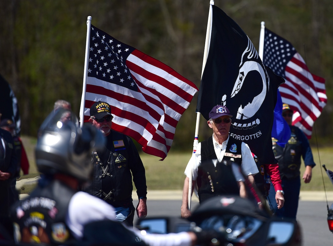 Patriot Guard Riders of North Carolina attend the funeral ceremony for Col. Edgar Davis April 6, 2018, in Goldsboro, North Carolina. Davis served as an RF-4C Phantom navigator during the Vietnam War assigned to the 11th Tactical Reconnaissance Squadron. The unit exists today as the 11th Attack Squadron, flying the MQ-9 Reaper. (U.S. Air Force photo by Senior Airman Christian Clausen)