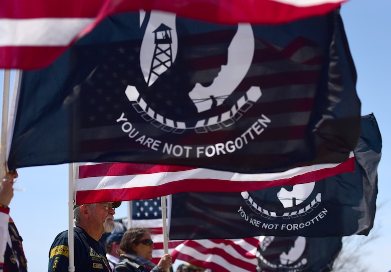 Patriot Guard Riders of North Carolina attend Col. Edgar Davis' funeral ceremony April 6, 2018, in Goldsboro, North Carolina. Davis was shot down during a night photo-reconnaissance mission over Laos during the Vietnam War. After initial rescue efforts were unsuccessful, he was assumed dead and his remains stayed missing for 50 years. (U.S. Air Force photo by Senior Airman Christian Clausen)