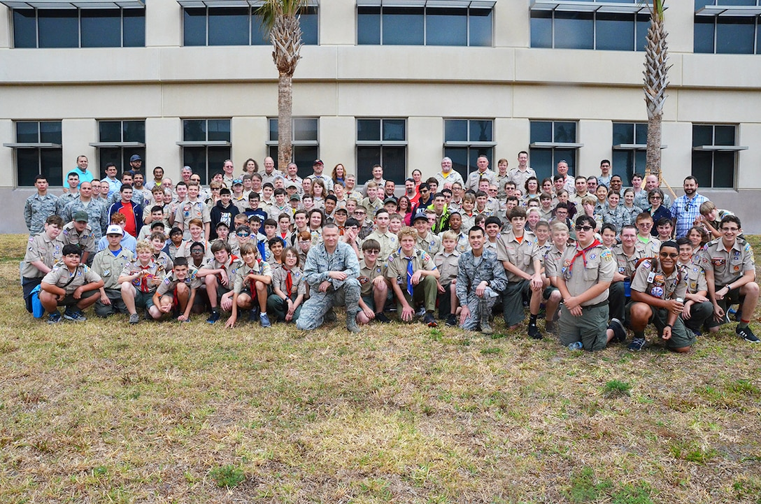 Nearly 100 Boy Scouts from across Central Florida came to the Air Force Technical Applications Center, Patrick AFB, Fla., March 31, 2018 to earn their Nuclear Science Merit Badge with the help of AFTAC Airmen.  The center is the sole nuclear treaty monitoring center in the Department of Defense.  (U.S. Air Force photo by Susan A. Romano)