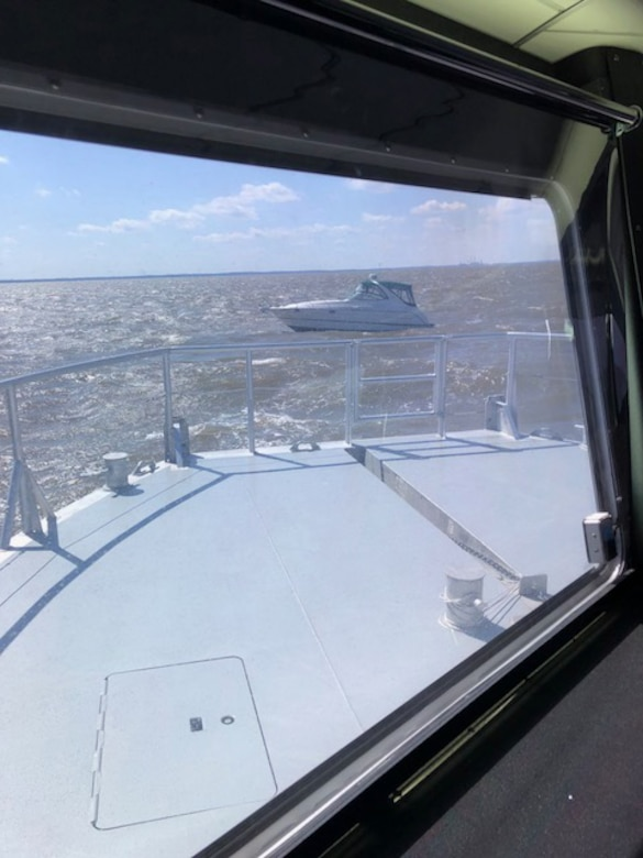 A disabled boat is visible from the wheelhouse of Survey Vessel CATLETT in the waters of the Chesapeake Bay as the CATLETT approaches during a rescue operation Thursday April 5, 2018. The CATLETT's U.S. Army Corps of Engineers crew was conducting a routine condition survey of the Tolchester Channel when she responded to a mayday call, rescuing a boater in the disabled vessel and bringing him back to the Corps of Engineers' facility at Fort McHenry where local emergency medical services assisted him further.
