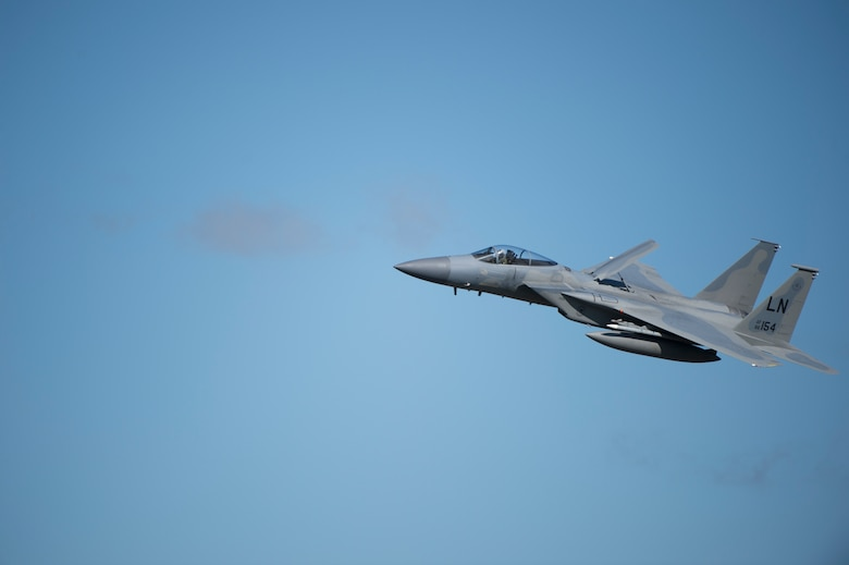 An F-15C Eagle assigned to the 493rd Fighter Squadron flies above Royal Air Force Lakenheath, England, April 5, 2018. The F-15 Eagle is an all-weather, extremely maneuverable, tactical fighter. (U.S. Air Force photo/ Senior Airman Malcolm Mayfield)